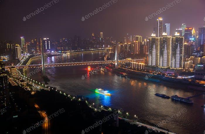 Night Yangtze river among Chongqing city in China