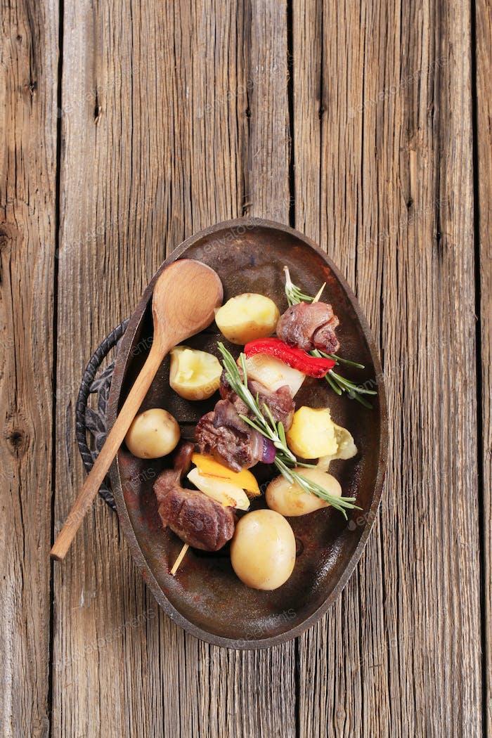 Shish kebab and potatoes