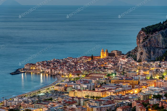 Cefalu in Sicily at dawn