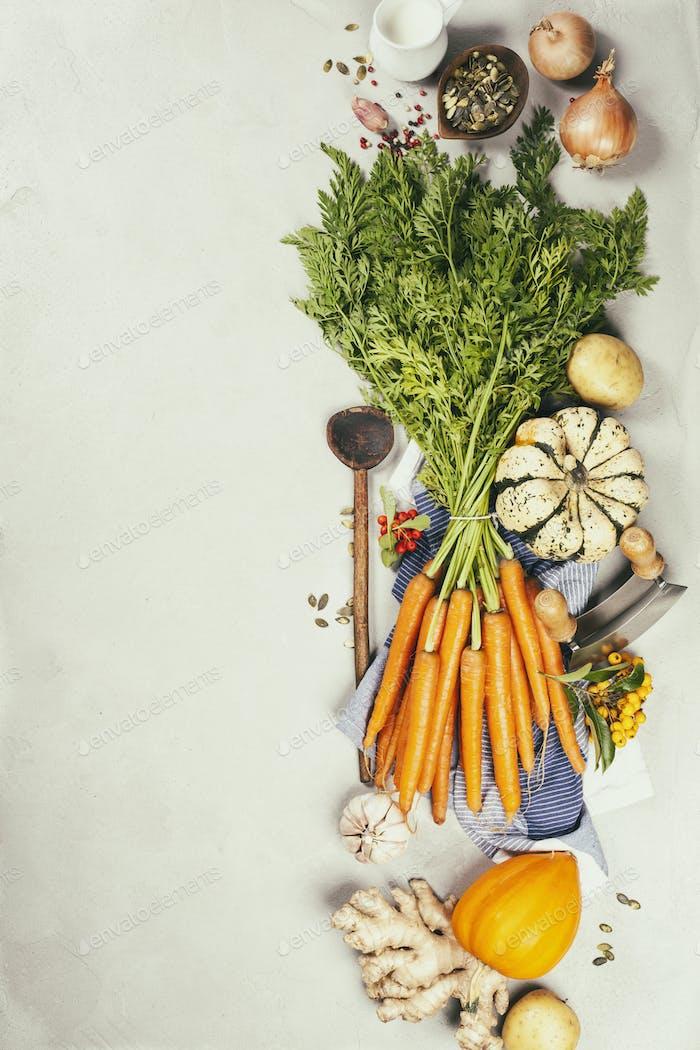 Gesundes Essen Kochen Hintergrund, Gemüsezutaten. Kopierraum