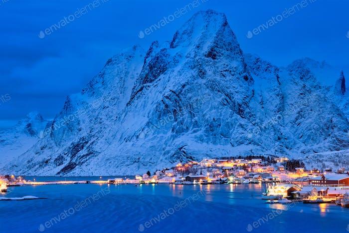 Reine village at night. Lofoten islands, Norway