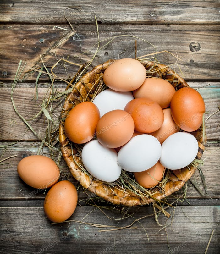 Eggs in a basket.