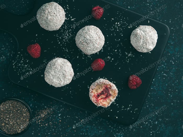 Raw lamington bliss balls with raspberries chia jam