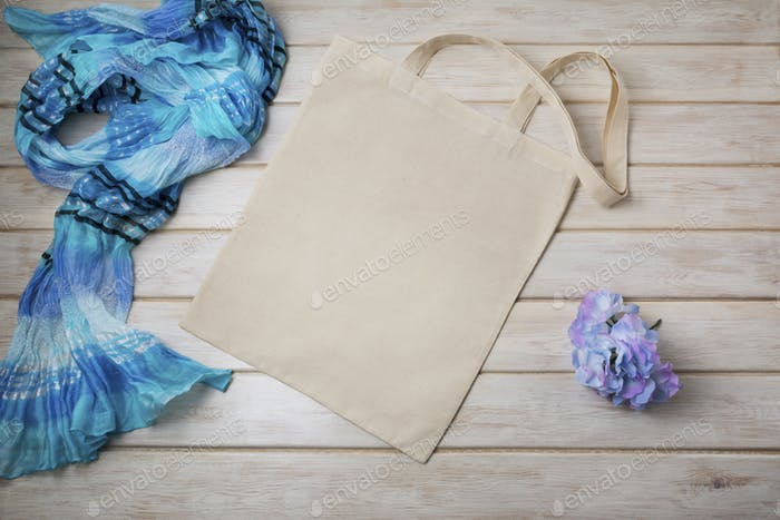 Placeit – Tote bag mockup with blue scarf and hidrangea flower