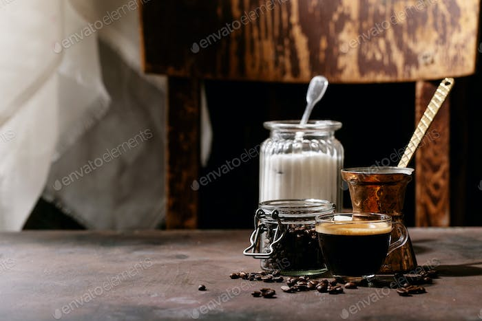 Fresh coffee in glass cup