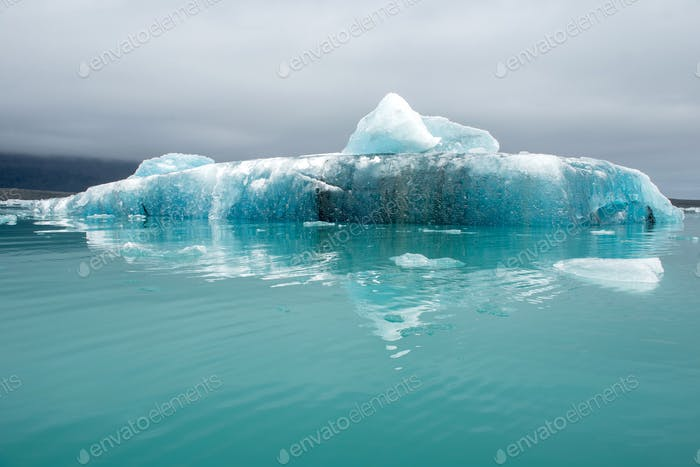 Melting icebergs as a result of global warming floating in Jokulsarlon glacial lagoon, Iceland