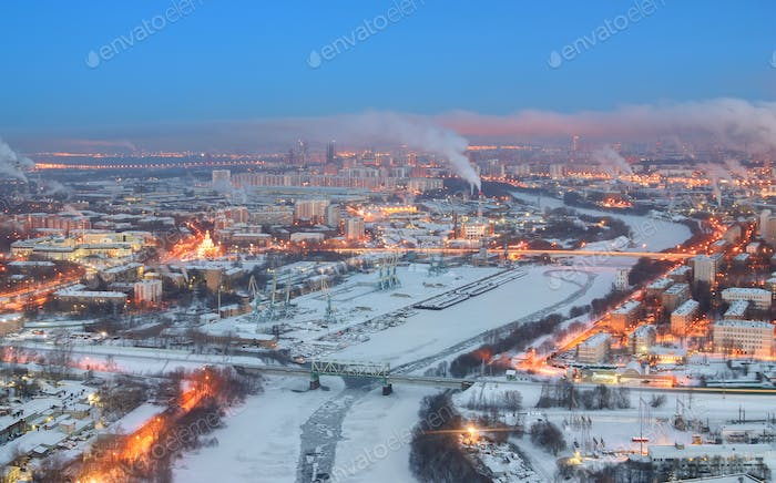 View of dawn on a winter city Moscow