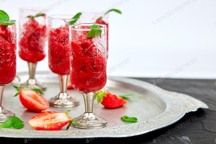 Summer refreshing strawberry granita