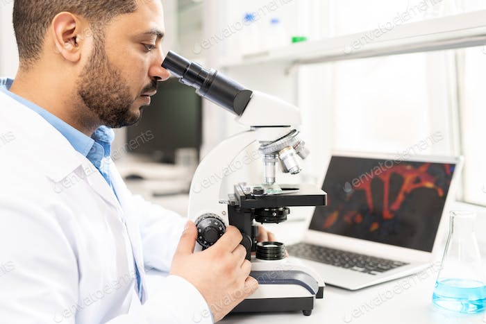 Microbiologist studying organism