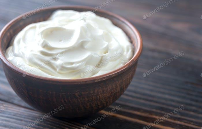 Bowl of Greek yogurt