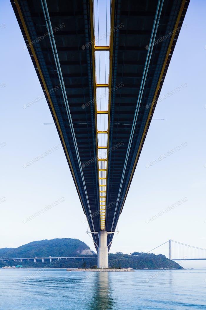 Low angle of suspension bridge in Hong Kong