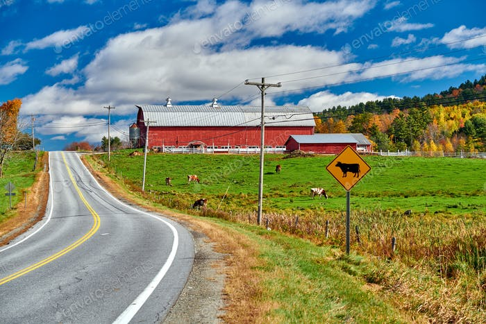 Highway and red barn at sunny autumn day