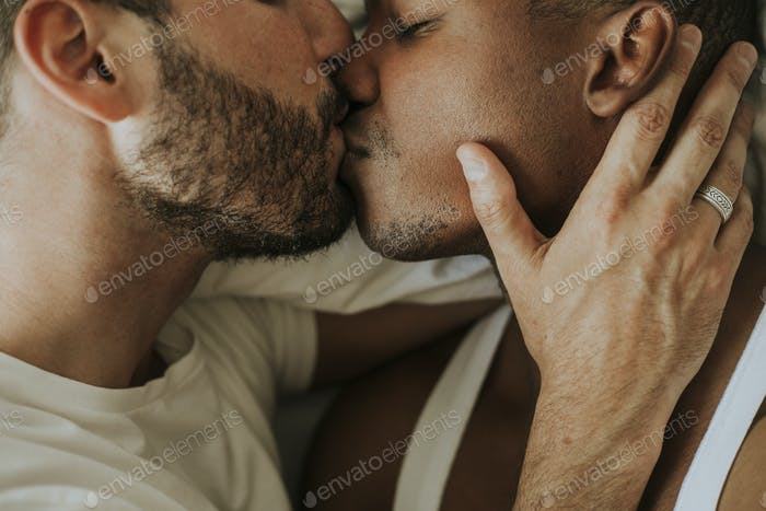 Passionate gay couple making out