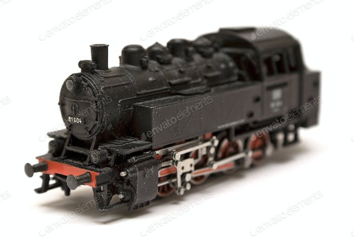 Steam Engine Model Isolated on a White Background