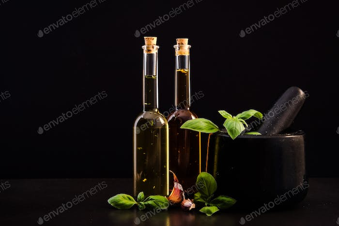 Infused olive oil, pestle and spices