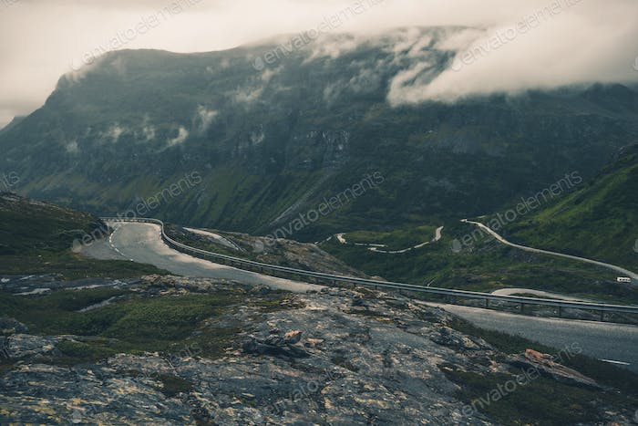 Mountains Of Norway With Scenic Highway Near Peaks.