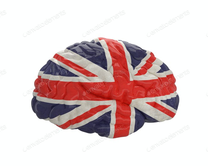 England. Flag on Human brain. 3D illustration.