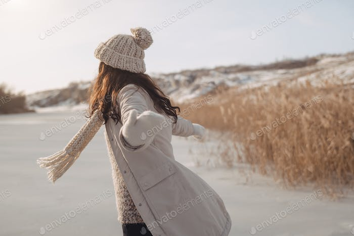 Winter Woman Having Fun Outdoors on Nature