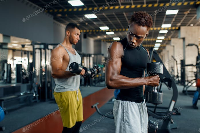 Two athletes doing exercise with dumbbell in gym
