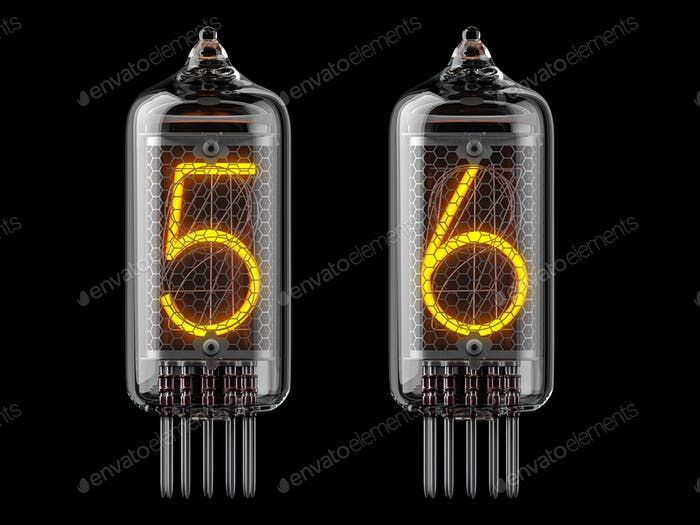 Nixie tube indicator. Number 5 five and 6 six on black background.
