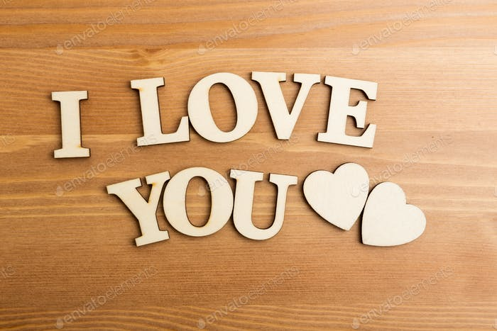 I Love You wooden text