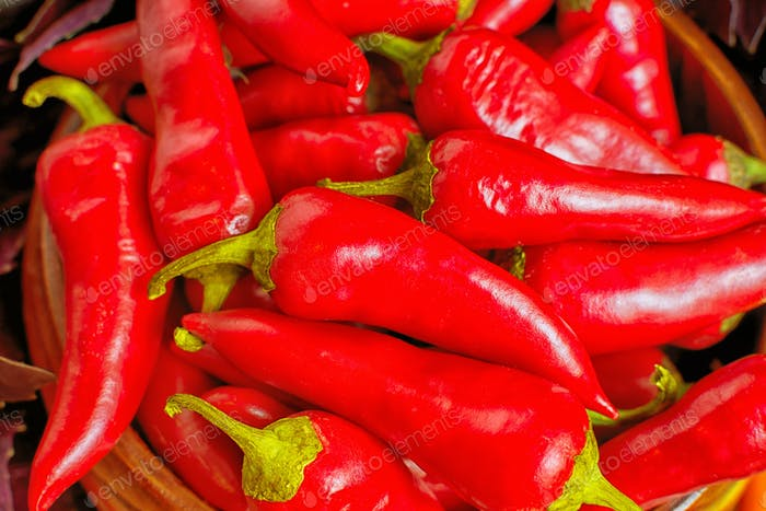Fresh red hot chilli pepper background