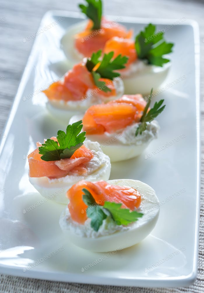 Salmon cream cheese deviled eggs