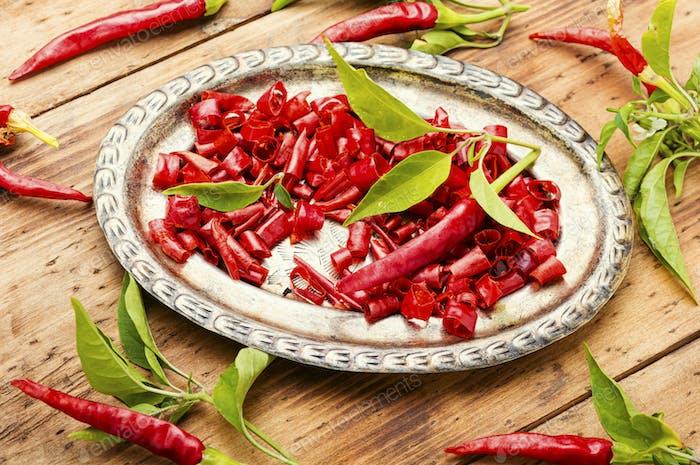 Sliced cayenne pepper
