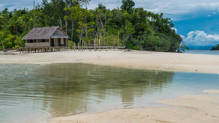 Empty Water Hut on Sand Bank between Kri Island and Monsuar. Raja Ampat, Indonesia, West Papua