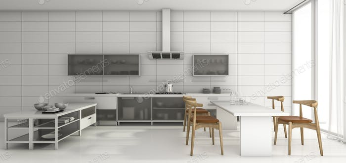 3d rendering nice design kitchen and dining in the morning