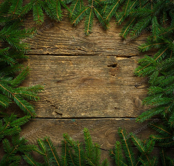 Christmas tree branches on wooden texture ready for your design