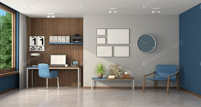 Work at home in a large room with desk and armchair