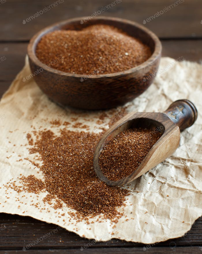 Uncooked teff grain in a bowl