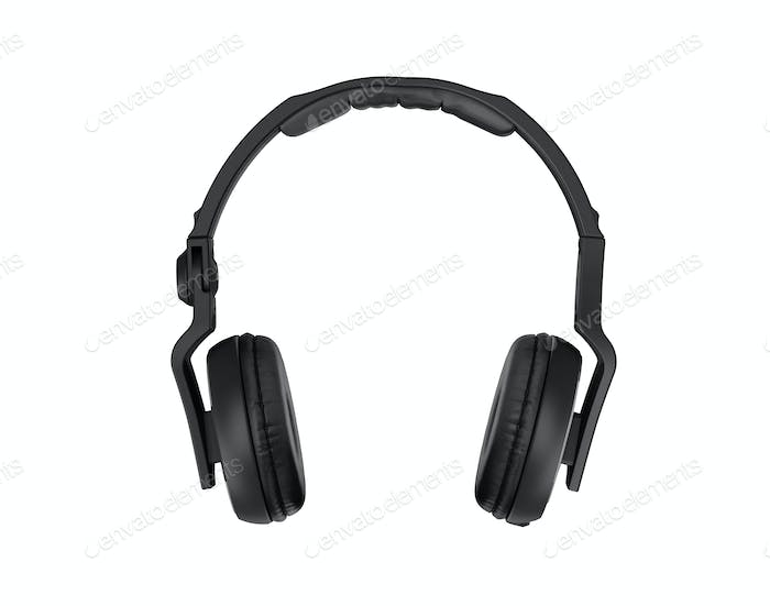 Black headphones isolated on a white background.