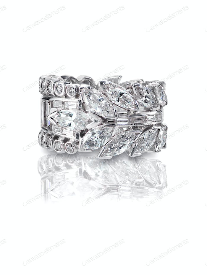 Beautiful Diamond Wedding band engagement ring with Marquis Diamonds