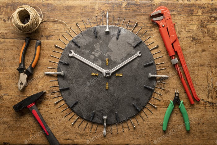 Tool watch with screws, wrench keys, nails, hammer and other tools