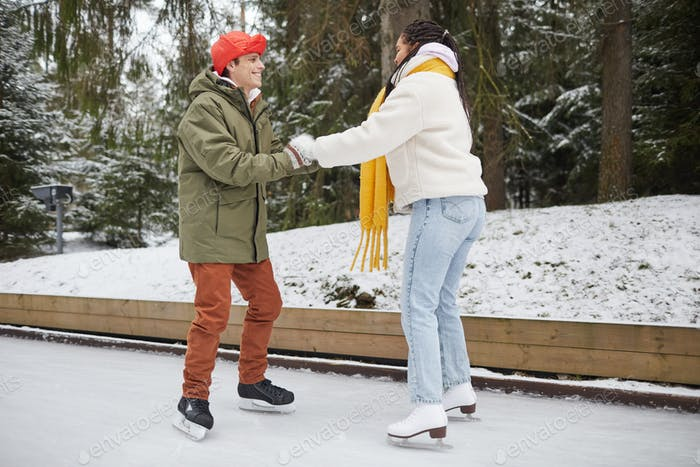 Woman learning to skate