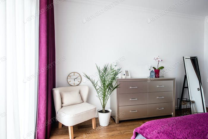bedroom interior design with modern furniture and scandinavian style design