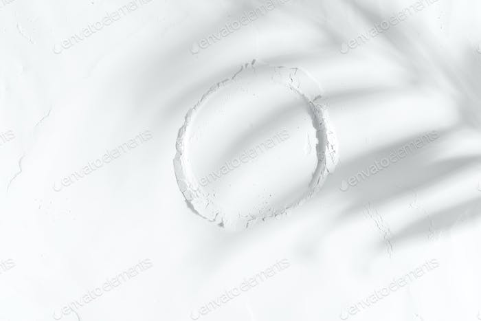 Round frame from white powder or flour with plant shadow