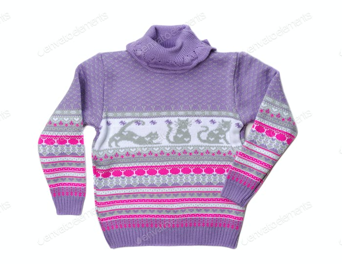 Knitted warm violet sweater pattern