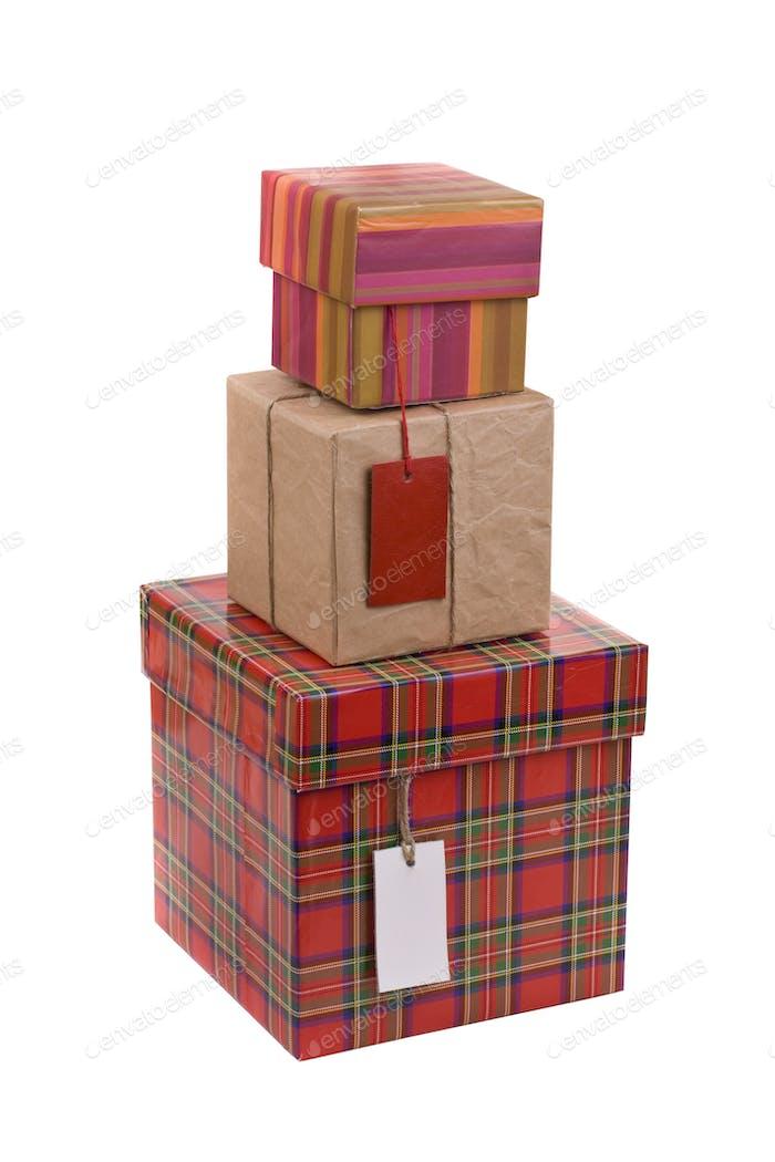 Geschenk-Boxen mit Blanko-Etikett