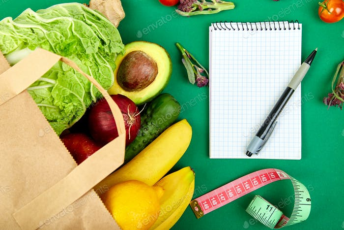 Shopping list, recipe book, diet plan. Grocering concept