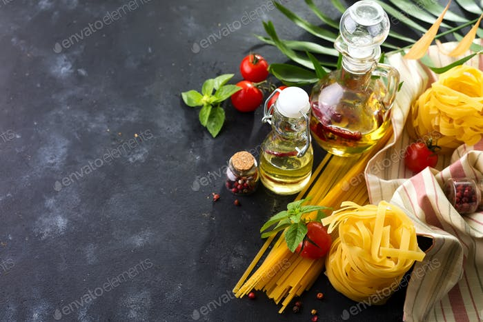 Fresh homemade pasta ingredients on a stone table top view , copy space