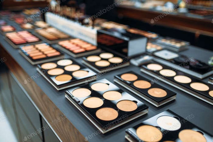 Powders collection in beauty shop closeup