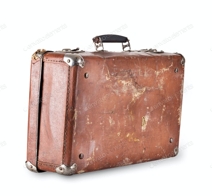 Old brown suitcase with handle