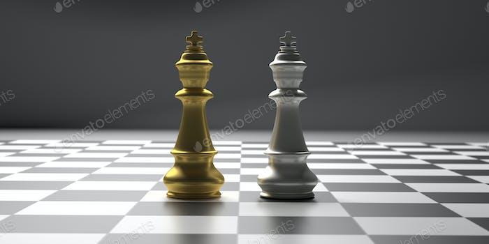 Schachkönige Gold und Silber Farbe stehen auf einem Schachbrett. 3D Illustration