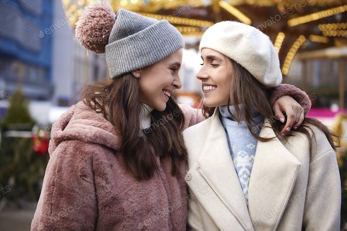 Two female best friends on Christmas Market