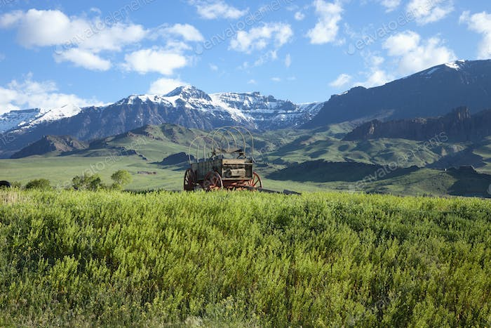 Old Covered Wagon in Field Below the Absaroka Mountains of Wyoming