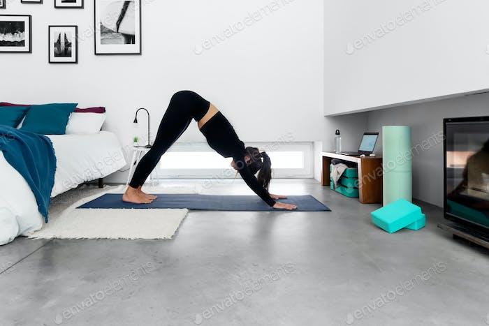 Frau macht nach unten gerichteten Hund mit Online-Yoga-Trainingsprogramm auf dem Laptop zu Hause
