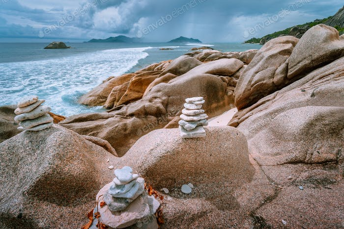 Tropical overcast scenery on Seychelles paradise islands. Thunderstorm comes up from the ocean